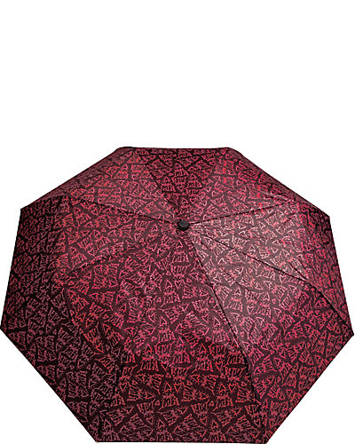 BETSEY PRINTED AUTO OPEN UMBRELLA TOO BLACK