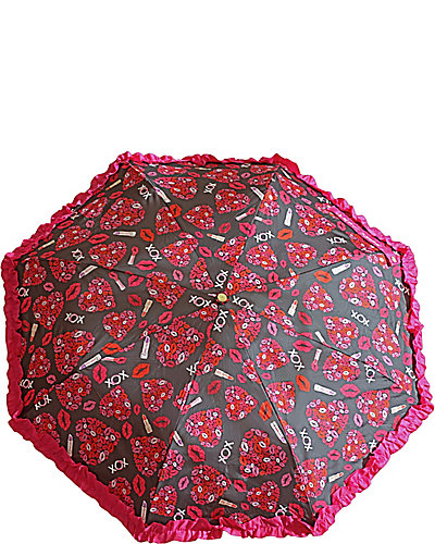 BETSEY RUFFLE MANUAL UMBRELLA RED