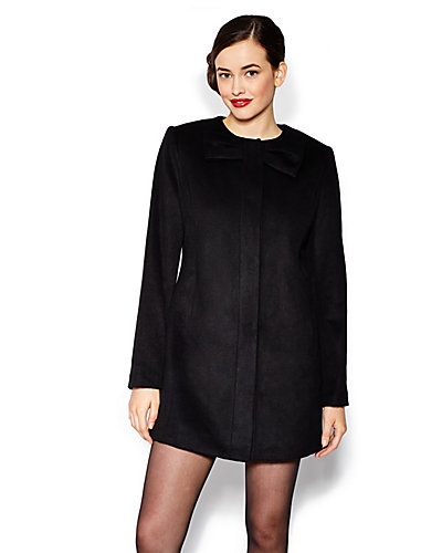BETSEY SOLID BOW WOOL JACKET BLACK