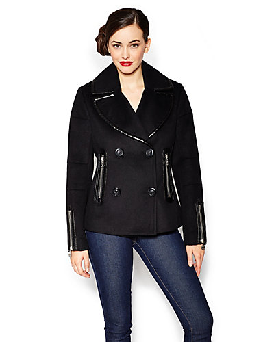 BETSEY SOLID DOUBLE BREASTED JACKET BLACK