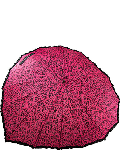 BETSEY SWEET HEART SHAPED STICK UMBRELLA PINK