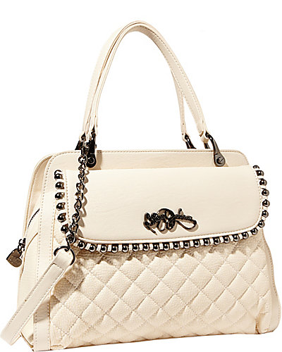BETSEYS BALL AND CHAIN SATCHEL CREAM