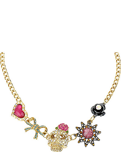 BETSEYS BEST SKULL HEARTS NECKLACE MULTI