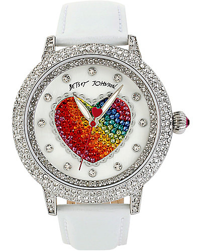 BETSEYS BIG HEART WATCH WHITE