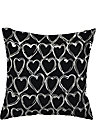 BETSEYS BOUDOIR EMBROIDERED HEART PILLOW BLACK