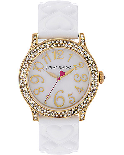 BETSEYS CLASSIC WHITE QUILTED HEART WATCH WHITE