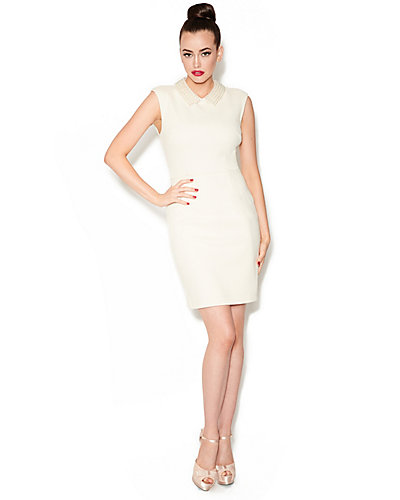 BETSEYS FAVORITE PEARL COLLAR DRESS IVORY