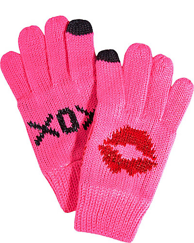 BIG KISSES E-TOUCH GLOVES PINK