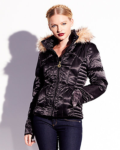 BJ SATIN FUR TRIM DOWN COAT BLACK