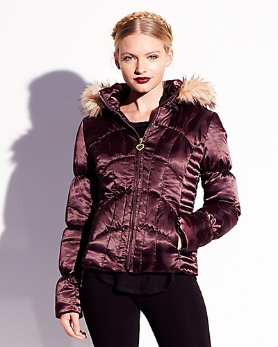 BJ SATIN FUR TRIM DOWN COAT PLUM
