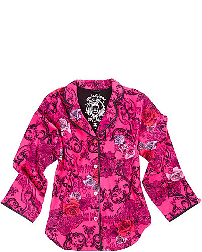 BJS SCROLL PRINTED FLANNEL PJS PINK