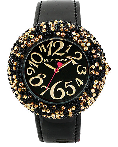 BLACK BAND LEOPARD PAVE WATCH BLACK