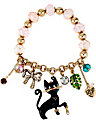 BLACK CAT AND BOW STRETCH BRACELET BLACK