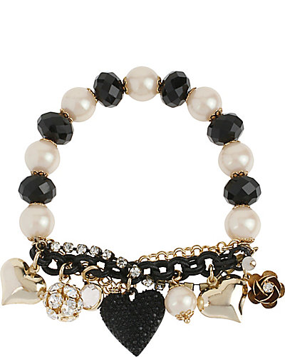 BLACK HEART STRETCH BRACELET BLACK