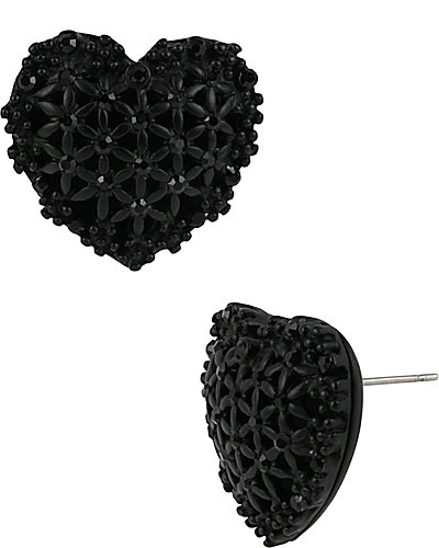 BLACK HEARTS BUTTON EARRINGS BLACK