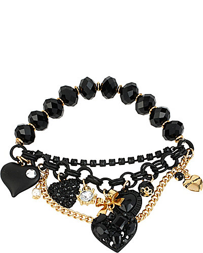 BLACK HEARTS KEY HEART HALF STRETCH BRACELET BLACK