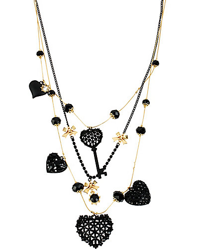BLACK HEARTS KEY HEART ILLUSION NECKLACE BLACK