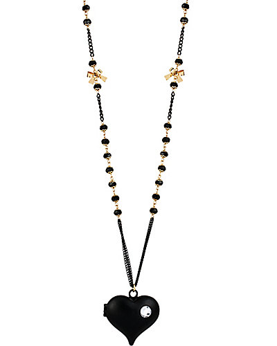 BLACK HEARTS LONG PENDANT NECKLACE BLACK