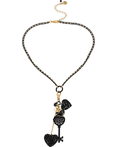 BLACK HEARTS SHAKEY REMOVABLE CHARM NECKLACE BLACK