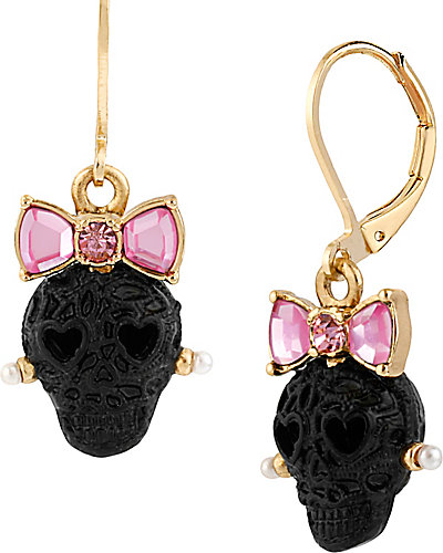 BLACK LACE SKULL DROP EARRING BLACK