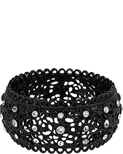 BLACK LACE STRETCH BANGLE BLACK
