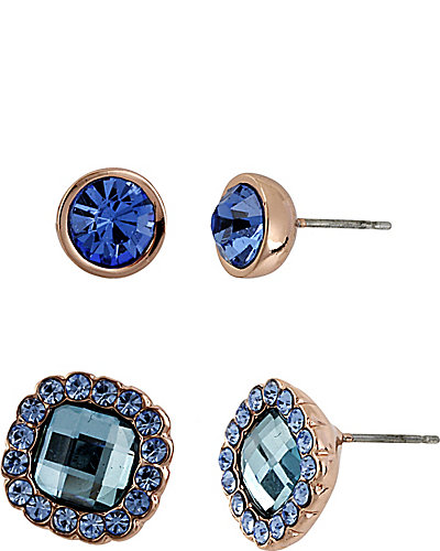 BLUE ROSE GOLD EARRING SET BLUE