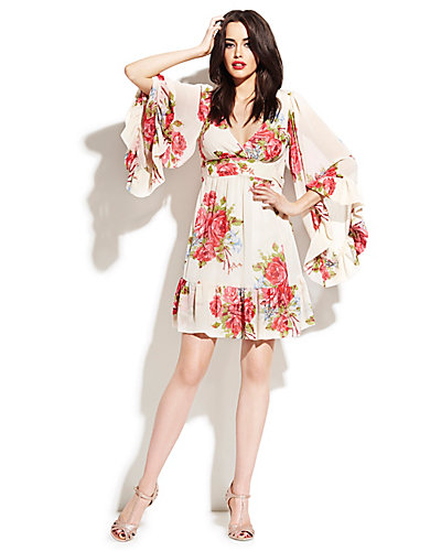 BOHEMIAN FLORAL BELL SLEEVE DRESS MULTI
