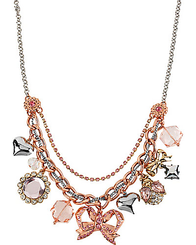 BOW CHARM NECKLACE PINK