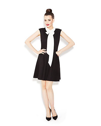 BOW COLLAR DRESS BLACK