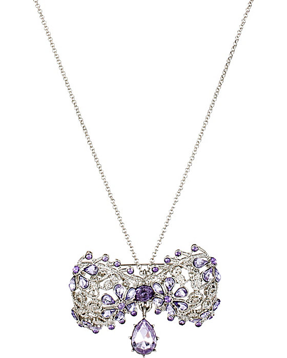 Betsey Johnson purple crystal bow pin and pendant
