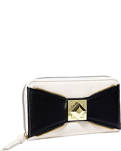 BOW ZIP WALLET BLACK