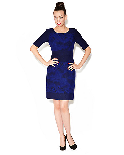 BROCADE THREE QUARTER SLEEVE DRESS BLUE