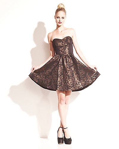 BRONZE FLORAL STRAPLESS DRESS BRONZE
