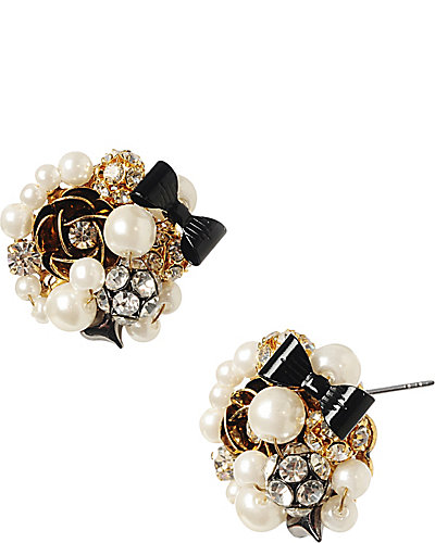 BUTTON PEARL ANTIQUE SILVER EARRING WHITE
