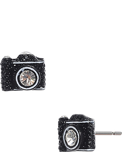 CAMERA STUD EARRING BLACK
