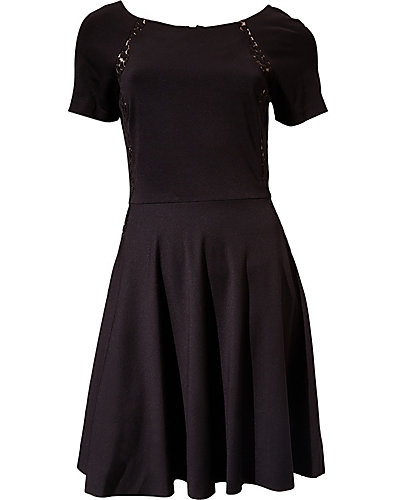 CAP SLEEVE DRESS WITH SHEER FLOWER INSETS BLACK