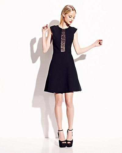 CAP SLEEVE LACE ILLUSION BACK DRESS BLACK