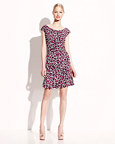 CAP SLEEVE LEOPARD DRESS WITH RUFFLE PINK