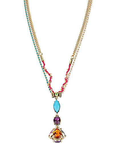 CARNIVAL 3 STONE DROP Y NECKLACE MULTI