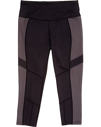COLORBLOCK CROP LEGGING CHARCOAL