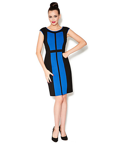 COLORBLOCKED CAP SLEEVE DRESS BLUE