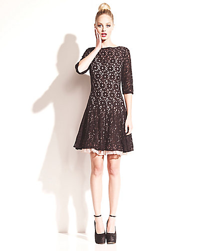 CONTRAST QUARTER SLEEVE LACE DRESS BLACK