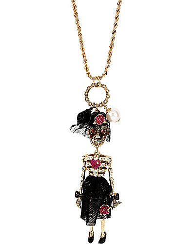 CREEPSHOW SKULL GIRL NECKLACE PINK