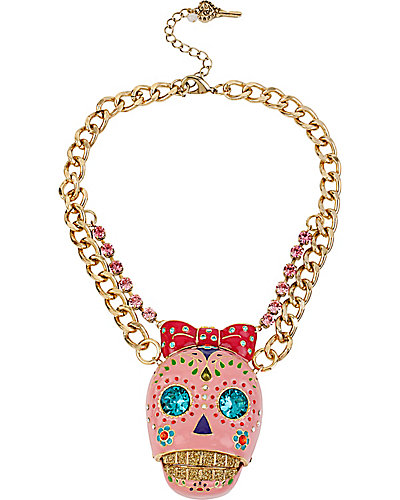 CRITTER STATEMENT PINK SUGAR SKULL NECKLACE PINK