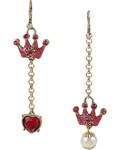 CRITTER STATEMENT PRINCESS CROWN EARRING CRYSTAL