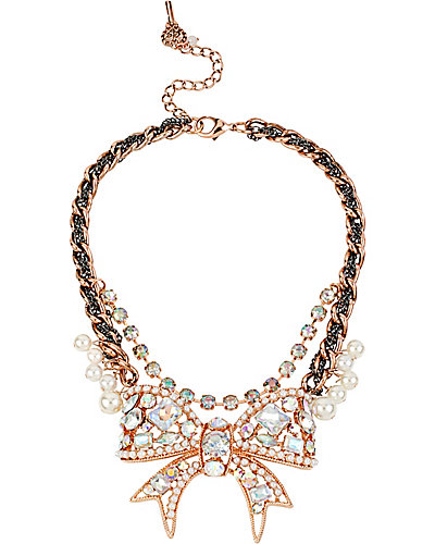 CRITTER STATEMENT ROSE GOLD BOW NECKLACE CRYSTAL