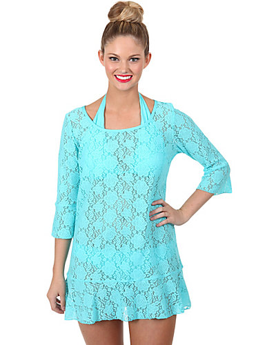 CROCHET CUTIE BELL SLEEVE COVERUP TEAL