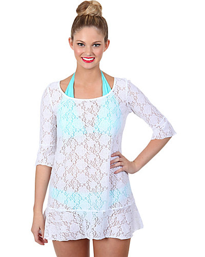 CROCHET CUTIE BELL SLEEVE COVERUP WHITE