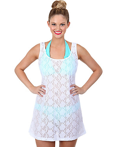 CROCHET CUTIE HEART CUT OUT COVERUP WHITE