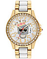 CROWNED SKULL TWO TONE WATCH GOLD